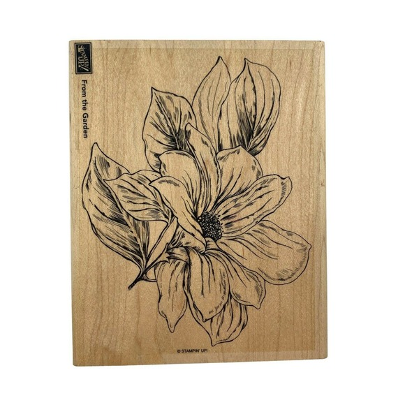 Stampin Up FROM THE GARDEN Magnolia Flower Background Rubber Stamp Wood